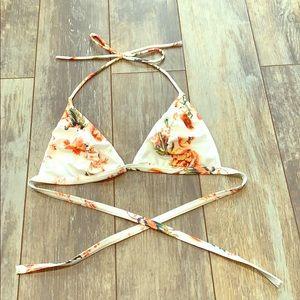 Orange and White Flower Bikini Top